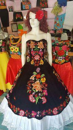Diamond Dress, Mexican Dresses, Magenta, Machine Embroidery, Strapless Dress, Boho, Regional, 30th, Applique