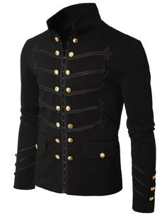 AHKIRA Mens Jacket with Button Detail at Amazon Men's Clothing store: Gothic Jacket