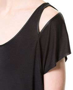 T-SHIRT WITH CUT-OUTS ON SHOULDERS - Zara