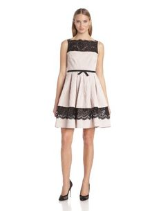 Taylor Dresses Women's Fit and Flare Dress with Lace Detail