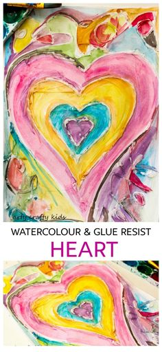 Watercolour and Glue Resist Heart Painting for Kids - A beautiful, unique and easy Heart art project for kids that's perfect for Valentine's Day or Mother's Day. Valentines Watercolor, Kids Watercolor, Art Watercolour, Heart Painting, Painting For Kids, Painting Art, Paintings, Easy Art Projects, Projects For Kids