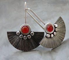 http://rubies.work/0412-sapphire-ring/ Sterling Silver Fun Earrings with Carnelian - Sterling Silver Jewellery - Textured - Gemstone Earrings - Handcrafted Jewellery on Etsy, $77.41