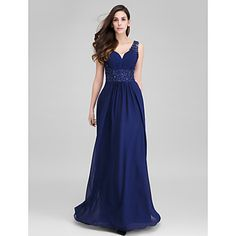 TS Couture® Formal Evening Dress Sheath / Column Sweetheart Floor-length Chiffon with Appliques / Side Draping – EUR € 117.59