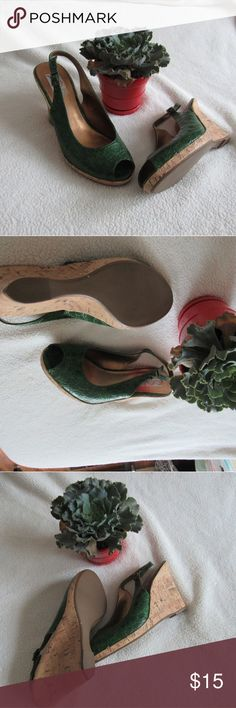 Green wedges Green gator style print, brand new never worn Shoes Wedges