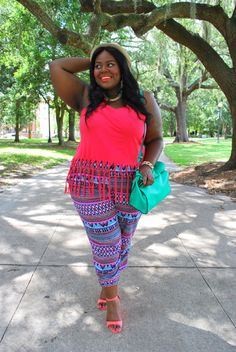 Musings of a Curvy Lady, Plus Size Fashion, Fashion Blogger, Women's Fashion, Summer Fashion, Weekend Fashion, What I Wore, Style Hunter, Tribal Print, Fringe, Fedora, Summer Style, Bright colors