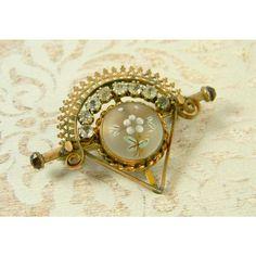 Antique Victorian Moonstone Garnet Brooch Pin, Painted Enamel Flower,... ($125) ❤ liked on Polyvore featuring jewelry, brooches, antique pins brooches, garnet jewelry, antique enamel brooches, antique jewelry and garnet brooch