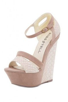 T these totally make me think of you! <3   BEIGE STYLISH PATTERNED WEDGE @ KiwiLook fashion