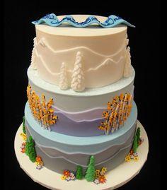 Seasonal Mountain Wedding Cake