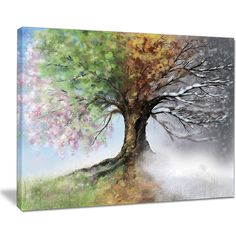 Tree with Four Seasons - Tree Painting Canvas Art Print | Overstock.com Shopping - The Best Deals on Gallery Wrapped Canvas