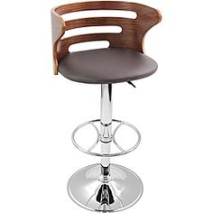 @Overstock.com - Modern Walnut Wood/ Chrome Hydraulic Bar Stool - Take pleasure in this modern hydraulic bar stool, a perfect accent piece for your own kitchen and an attractive and functional decor for bars and cafes. Sit and relax on the padded leatherette seat while your back is protected by the bent design.  http://www.overstock.com/Home-Garden/Modern-Walnut-Wood-Chrome-Hydraulic-Bar-Stool/5548949/product.html?CID=214117 $109.00