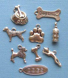 Dog Charm Collection Antique Tibetan Silver - COL023. $3.25, via Etsy.