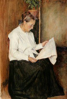 Friant, Emile (1863-1932) Le feuilleton - Madame Parisot lisant le journal, 1888