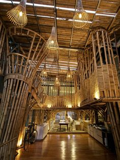 The use of bamboo construction was based on RAW Architecture's experience working with the material to construct parts of a school in the city of Tangerang.