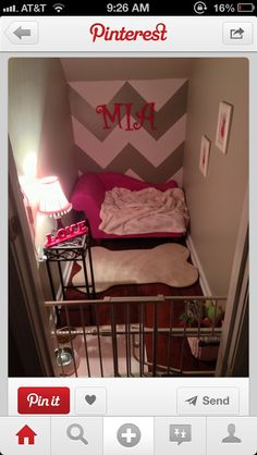Would love to have a little nook for Bella to live in while i'm at work. Not so girly and cutesy but love the idea.