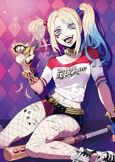 Harley Quinn in Suicide Squad Raccoon Art, Daddys Lil Monster, Anime Art Girl, Anime Girls, Manga, Illustration Artists, Action Movies, Cute Designs, Cute Drawings