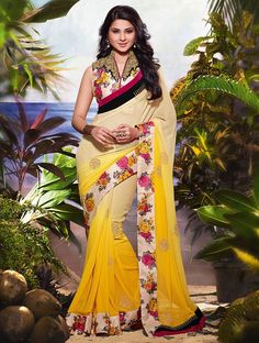 Fashion and trend could be at the peak of your magnificence after you dress this charming style cream and yellow shade georgette saree. #saree #sari #georgettesaree