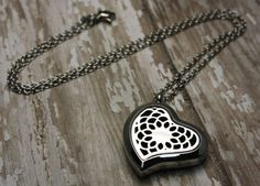 Essential Oil Diffuser Necklace- Aromatherapy Necklace- Stainless Steel Aromatherapy Necklace- Heart Shape Necklace- Heart Lotus Necklace  Would you
