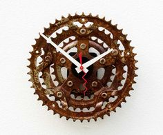 Recycled Bike Crank Gear clock by pixelthis on Etsy