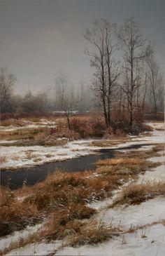 """""""Sulina Park in January"""" 11x17 oil on panel 2015 - Renato Muccillo"""