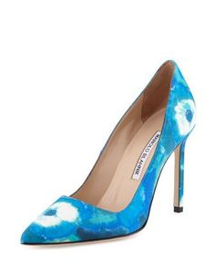 "Manolo Blahnik tie-dye fabric pump. 4.3"" covered heel. Pointed toe. Low-dipped vamp. Topstitched collar. Smooth outsole. ""BB"" is made in Italy."