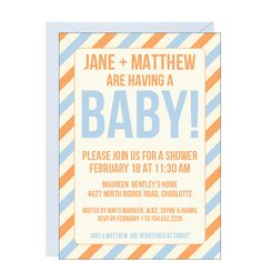 Stripes Baby Shower Invitation