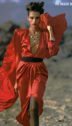 "Vogue Italia December 1986 ""Altera o Fragile - Per Emergere in Abito Lungo"" Model: Famke Janssen Photographer: Hans Feurer"