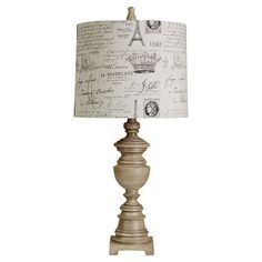 Spooled table lamp Paris-inspired linen drum shade.    Product: Table lampConstruction Material: Polyresin and l...