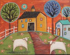 Yellow Barn Sheep 11x14 ORIGINAL CANVAS PAINTING PRIM FOLK ART Karla Gerard #FolkArtAbstractPrimitive