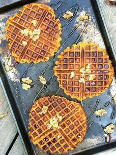 whole wheat pumpkin waffles -- hearty breakfast for your ghouls and goblins.