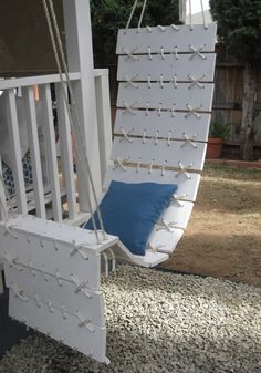 Turn your patio or front porch into a relaxing space where you can—literally—hang out. All you need to put together your own floating plank chair are a few planks of wood, some paint, rope and a pair of hooks. Home Made Simple's Didiayer Snyder shows you how.