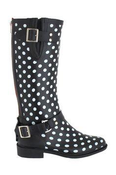 Cappelli Shiny Polka Dot Riding Rain Boots