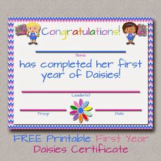 Fashionable Moms: Girl Scouts: FREE Printable Daisies First Year Certificate - Stylish Graphics Scout Mom, Girl Scout Swap, Girl Scout Leader, Daisy Girl Scouts, Girl Scout Troop, Brownie Girl Scouts, Girl Scout Cookies, Cub Scouts, Girl Scout Daisy Activities
