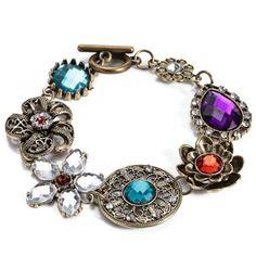 Women Retro Style Floral Spliced Alloy Hollow Out Bracelet #jewelry, #women, #men, #hats, #watches, #belts