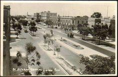 Avenida Alfonso Ugarte en 1940. Se ve el Museo de Arqueología, el Hospital Loayza y atras un minarete de una antigua casa de estilo árabe que quedaba en la esquina de la Av. Venezuela y Jr. Iquique.  Fuente: Lima la Unica