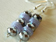 Silver Faceted and Sequin earrings by gr8byz on Etsy, $9.00