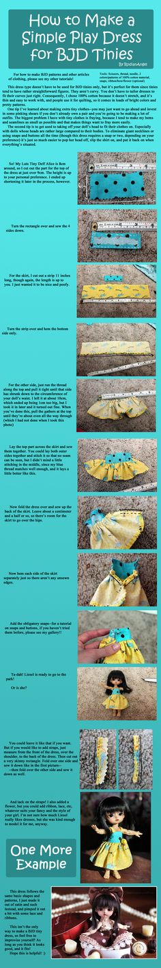 How to Make a Simple Play Dress for BJD Tinies by RodianAngel.deviantart.com on @DeviantArt