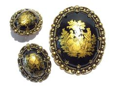 Signed West Germany Brooch and Earrings Vintage by darsjewelrybox