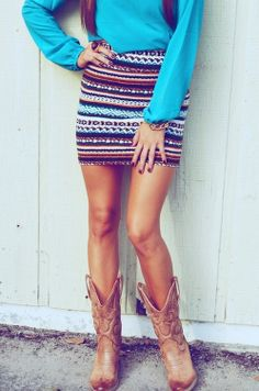 Tribal mini skirt and cowboy boots