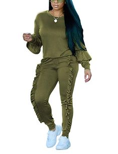387b585caeb Akmipoem Women s Two Piece Outfits Ruffle Sleeve Sweatshirt and Long Pants  Tracksuit - Blogging ERA Sweatshirt