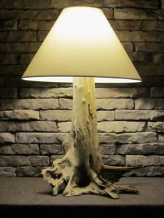 driftwood table lamp by WhiskeyBottomWdcrftr on Etsy