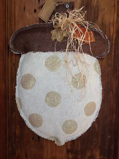 ACORN Burlap Door Hanger by monkeylynnedesigns on Etsy, $35.00