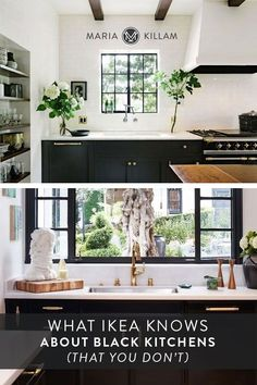 In order to achieve black and white kitchen that is also classic and timeless, I'm dissecting a few IKEA showroom kitchens. Because it's these well-planned and executed details that are critical to getting the look and feel of a black and white kitchen right. Designer kitchens aren't easily copied, but I can help you avoid some of the perils of black kitchens. Kitchen Cabinet Colors, White Kitchen Cabinets, Paint Doors Black, Ikea Showroom, White Kitchen Decor, Black Rooms, Dark Furniture, Article Design, Black Kitchens