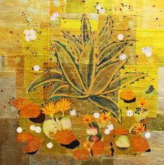 "Century Plant with Stone Succulents, 24""x24"" mixed media on gold paper applied to panel, 2010 Alexandra Gjurasic  www.alexandragjurasic.co"