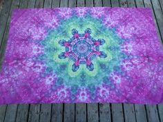 Tie Dye Twin Size Flower Mandala Bed Sheet  / Tie Dyed Bedding / Ice Dye Sheet / Tapestry / Wall Hanging /  Single Tyedye Bed SheetSheet by PiecefulWorlds on Etsy