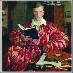 Boris Mikhailovich Kustodiev (1878-1927), Portrait de K.B. Kustodiev - 1922 Russian Art, Male Portrait, Painting, Reading Art, Illustration Art, Visual Art, Art, Portrait Painting, Book Art
