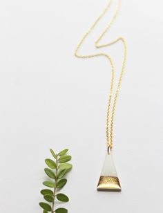 minimalist necklace long gold necklace triangle by DanaJewellery