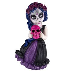 """Cosplay Kids Day of The Dead Figurine Girl Holding Skull 6""""H"""