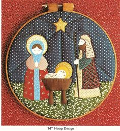 Adorable Vintage Christmas Nativity Quilted Hoop 14 Sewing Pattern by The Pieceable Kingdom. Pattern: Nativity Hoop 14 Maker: The Pieceable Kingdom Era: Condition: Excellent Condition! My patterns are checked, complete and usa Nativity Crafts, Christmas Crafts, Christmas Decorations, Christmas Ornaments, 1980s Christmas, Felt Christmas, Christmas Nativity Scene, Holy Family, Applique