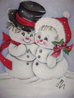 Paintings taken by the net artisan Lilinha Silva . Christmas Rock, Christmas Canvas, Christmas Scenes, Christmas Pictures, Christmas Snowman, Christmas Ornaments, Xmas, Christmas Drawing, Christmas Paintings