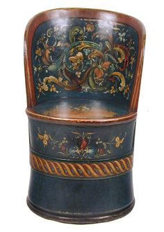 Folk Art Painted Tub Chair